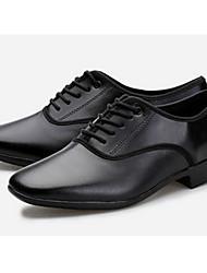 cheap -Men's Latin Shoes Cowhide Heel Customizable Dance Shoes Black / Practice