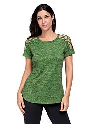 Tee-shirt Femme,Couleur Pleine Sortie Voyage simple Eté Manches Courtes Col Arrondi Polyester Spandex Moyen
