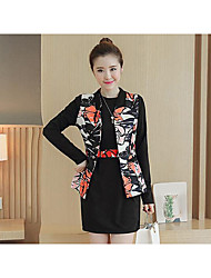 Women's Casual/Daily Simple Fall Blazer Dress Suits,Pattern Round Neck 3/4 Length Sleeve Micro-elastic