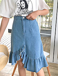 Women's Casual/Daily Asymmetrical Skirts A Line Striped Summer