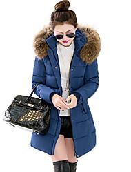 Lungo Imbottito Da donna,Cappotto Semplice Moda città Per uscire Casual Tinta unita Poliestere Poliestere Manica lunga Con cappuccio
