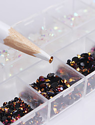 cheap -1 Box Black White Mixed Jelly Nail Rhinestones 3D Nail Art Decorations With Dotting Pen Manicure DIY Nail Art Decoration Set