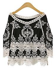 Damen Muster Retro Street Schick Normal T-shirt,V-Ausschnitt Frühling Herbst 3/4 Ärmel Baumwolle Dick
