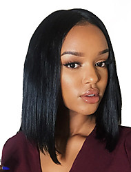 Premier ®Light Yaki Glueless Short Bob Haircut Glueless Full Lace Wig Brazilian Virgin Human Hair Wigs for Women