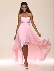 A-ligne princesse sans bretelles sweetheart étage longueur asymétrique mousseline de soie robe de soirée avec perles par ts couture®