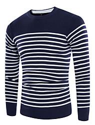 Standard Pullover Da uomo-Casual Semplice A strisce Rotonda Manica lunga Misto cotone Autunno Medio spessore Media elasticità