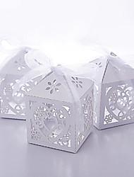 baratos -50 peças / set favor holder-creative card paper favor caixas com fita laser cortada não personalizadas diy baby shower favors