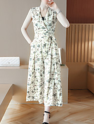 Women's Mid Rise Going out Casual/Daily Holiday Jumpsuits,Boho Wide Leg Floral Floral Summer Fall