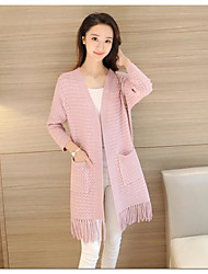 Women's Casual/Daily Simple Long Cardigan,Solid Cowl Neck Long Sleeves Cotton Polyester Fall Medium Micro-elastic
