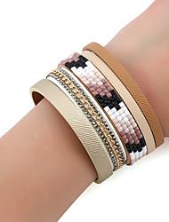 Women's Chain Bracelet Leather Bracelet Wrap Bracelet Rhinestone Turkish Fashion Bohemian Metal Alloy Rhinestone Rectangle Jewelry For