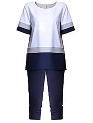 economico -T-shirt Pantalone Completi abbigliamento Da donna Per uscire Moda città Estate,Tinta unita A strisce Rotonda Chiffon Manica cortaMedia