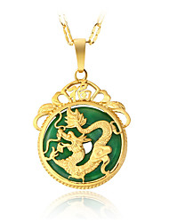 cheap -Men's Women's Luxury Dragon Jade Pendant Necklace  -  Luxury Circular Dangling Style Round Irregular Gold Necklace For Christmas Gifts