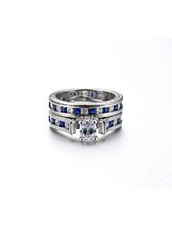 preiswerte -Damen Ring Synthetischer Rubin Synthetischer Saphir Luxus Elegant Kubikzirkonia Platin Kreisförmig Modeschmuck Hochzeit Jahrestag Party