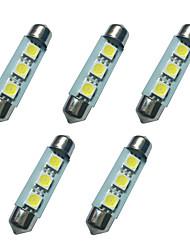 5pcs doppio ha indicato le luci principali 41mm 1w 3smd 5050 chip 80-100lm 6500-7000k dc12v luci di targa di lettura della luce