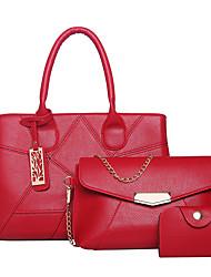 preiswerte -Damen Taschen PU Bag Set Reißverschluss für Normal Formal Ganzjährig Weiß Schwarz Rote Grau Purpur