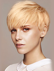 Donna Parrucche senza cappuccio per capelli umani Beige Biondo // Bleach Blonde Pantaloncini Lisci Taglio corto spettinato Con frangia