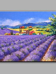 Large Size Hand-Painted Landscape Lavender Flower Sea  One Panel Canvas Oil Painting For Home Decoration No Framed
