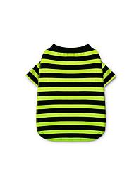 baratos -Cachorro Camiseta Roupas para Cães Riscas Fúcsia Verde Algodão Ocasiões Especiais Para animais de estimação Homens Mulheres Casual