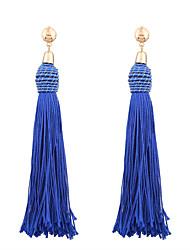 baratos -Mulheres Franjas Brincos Compridos - Personalizada, Borla, Boêmio Vermelho / Azul / Khaki Para Casamento / Aniversário / Housewarming