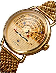 Недорогие -Муж. Наручные часы Японский Нержавеющая сталь Черный / Коричневый / Золотистый 30 m Защита от влаги Календарь Творчество Аналоговый Кулоны Роскошь Классика Винтаж На каждый день -