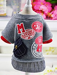 cheap -Dog Coat Sweatshirt Dog Clothes Casual/Daily Fashion Letter & Number Gray Red Costume For Pets