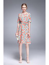 Feminino balanço Vestido,Para Noite Casual Simples Fofo Floral Decote Redondo Altura dos Joelhos Manga Curta Raiom Primavera Verão