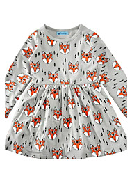 Girl's Animal Print Dress,Cotton Spring Fall Long Sleeve Animal Print Gray
