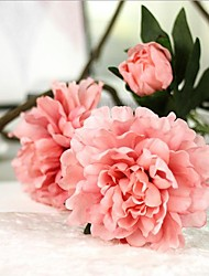 cheap -Large Size 35inch 5 Branch 15 Heads Silk Peonies Tabletop Flower Artificial Flowers