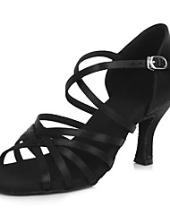 "Women's Latin Satin Sandals Heels Indoor Buckle Rattan Stiletto Heel Black 2"" - 2 3/4"" Customizable"