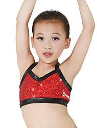 Da esibizione Top Per donna Per bambini Da esibizione Elastene Poliester Paillettes 1 pezzo Senza maniche Alto Top
