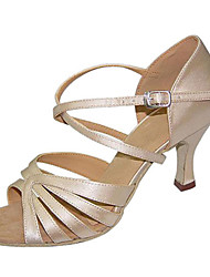 Damen Latin Seide Sandalen Aufführung Überkreuzt Stöckelabsatz Beige 7,5 - 9,5 cm Maßfertigung