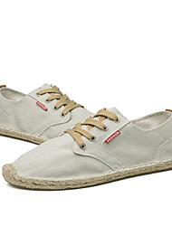Herren Sneaker Komfort Leinwand Frühling Herbst Normal Schnürsenkel Flacher Absatz Dunkelblau Grau Khaki 5 - 7 cm