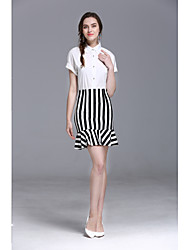 cheap -JOJO HANS Women's Formal Office & Career Striped Skirts Fashion Summer Shirt Skirt Suits,Solid Striped Shirt Collar Short Sleeve Cotton/nylon with