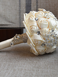 Romantic Wedding Bride Holding Bouquet Roses Diamond Pearl Ribbon