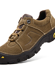 cheap -Men's Shoes Nappa Leather Winter Fall Comfort Athletic Shoes Hiking Shoes Lace-up for Casual Outdoor Coffee Khaki
