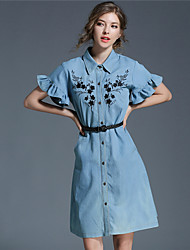 Women's Party Going out Casual/Daily Sexy Simple Street chic Sheath Dress,Embroidered Shirt Collar Above Knee Short Sleeve DenimSummer