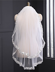 Wedding Veil Two-tier Elbow Veils Cathedral Veils Lace Applique Edge Tulle