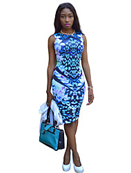 cheap -Women's Party Daily Holiday Going out Club Beach Cute Casual Sexy A Line Bodycon Sheath Dress,Floral Jewel Neck Knee-length Sleeveless