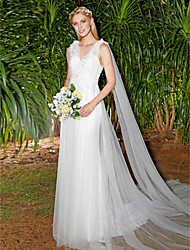 cheap -A-Line V-neck Sweep / Brush Train Lace Tulle Wedding Dress with Lace Draped by LAN TING BRIDE®