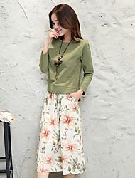 Damen Solide Blumen Sexy Röcke Floral Design Natur inspirierter Stil Freizeit Ausgehen Lässig/Alltäglich T-Shirt-Ärmel Rock Anzüge,