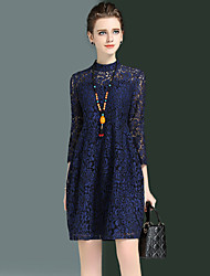 Women's Plus Size Going out Sexy Loose Lace Dress Embroidered Round Neck Above Knee 3/4 Length Sleeve Blue /Red Spring /Fall