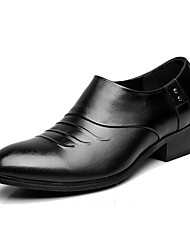 cheap -Men's Shoes Leather Spring Fall Formal Shoes Oxfords Pointed Toe For Office & Career Black