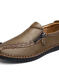 Men's Shoes Nappa Leather Spring Fall Comfort Loafers & Slip-Ons Zipper For Casual Outdoor Office & Career Gray Brown Khaki