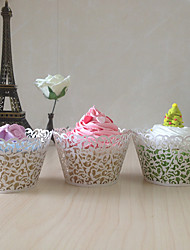 50pcs Lace cupcake wrapper laser cut muffin cup cake cup wrappers pearl paper wedding party decoration supplies