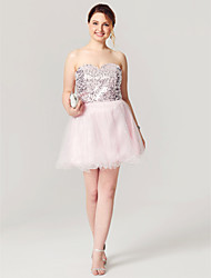 A-Line Fit & Flare Sweetheart Short / Mini Tulle Sequined Cocktail Party Homecoming Dress with Pleats Sequins by Sarahbridal