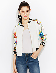 Women's Casual/Daily Simple Spring Bomber Jacket,Print Round Neck Long Sleeve Short Cotton