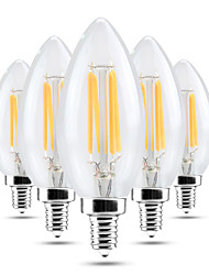 4W E14 LED Candle Lights C35 4 COB 300-400 lm Warm White Cold White 2800-3200/6000-6500 K Dimmable Decorative AC 220-240 V