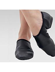 Women's Jazz Cowhide Flat Heel Practice Black Almond