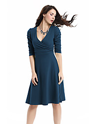 cheap -Women's Party Work Plus Size Vintage Sexy A Line Swing Dress,Solid Deep V Knee-length 3/4 Length Sleeves Cotton Polyester Spandex Summer