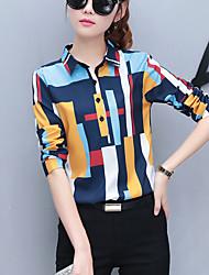 Camicia Da donna Ufficio Moda città Primavera Autunno,Arcobaleno Colletto Poliestere Manica lunga Medio spessore